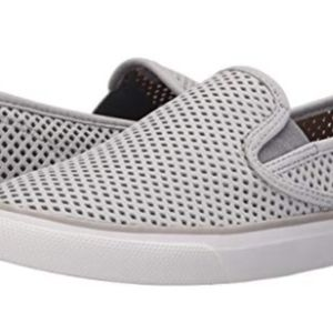 Sperry Seaside Gray Perforated Slip-on Sneaker